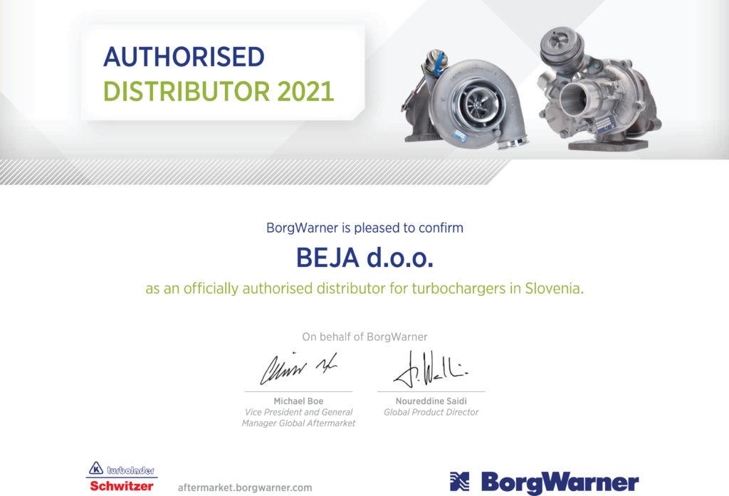 BorgWarner turbo certifikat